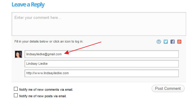 Gravatar email