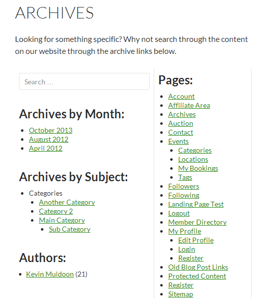 An Example of an Archives Page