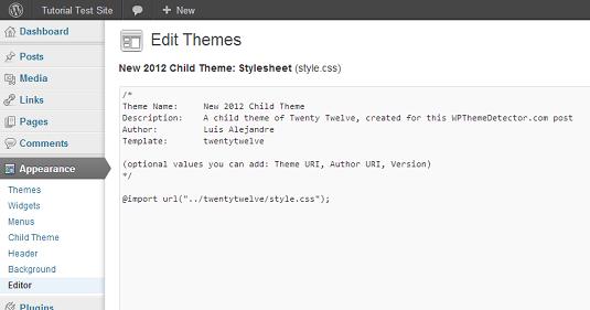 child-theme-stylesheet-editor