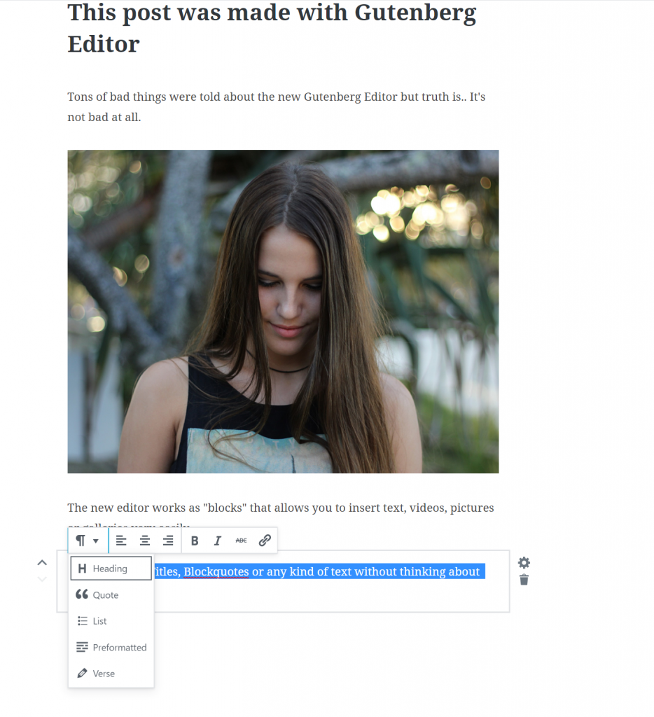 Add a heading type in gutenberg