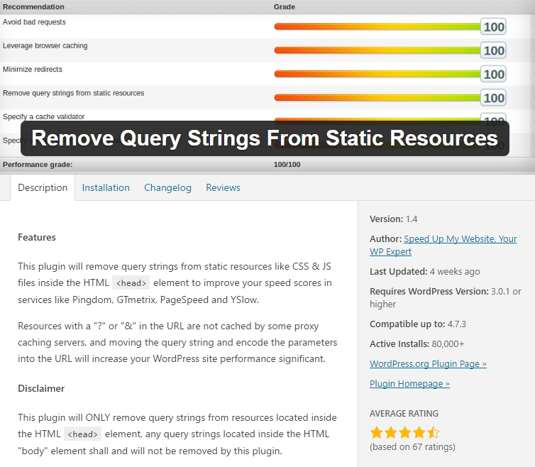 Speed up WordPress remove-query-strings