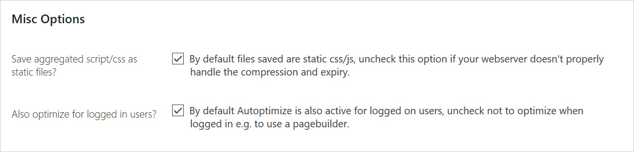 Easy Caching for WordPress with 2 plugins - Autoptimize settings 3